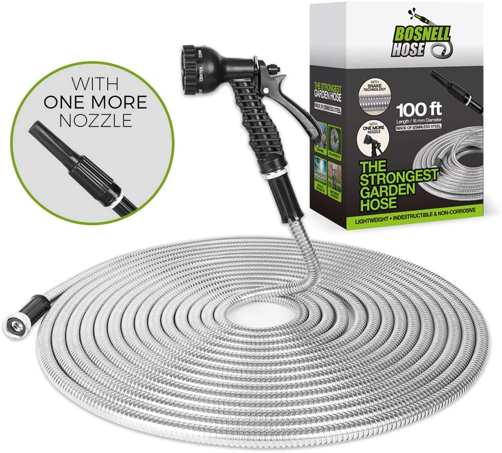 Metal Garden Hose 100FT, Water Hose,outdoor hose, Lightweight, Ultra Flexible and Tangle Free, Dog Free& Kink Free,304 Stainless Steel Hose with 2 Free Nozzles, Cool to Touch,Tough and Durable,BOSNELL