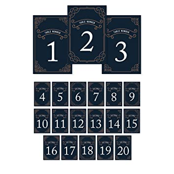 Andaz Press Navy Blue Art Deco Vintage Party Wedding Collection Table Numbers 1 20 On