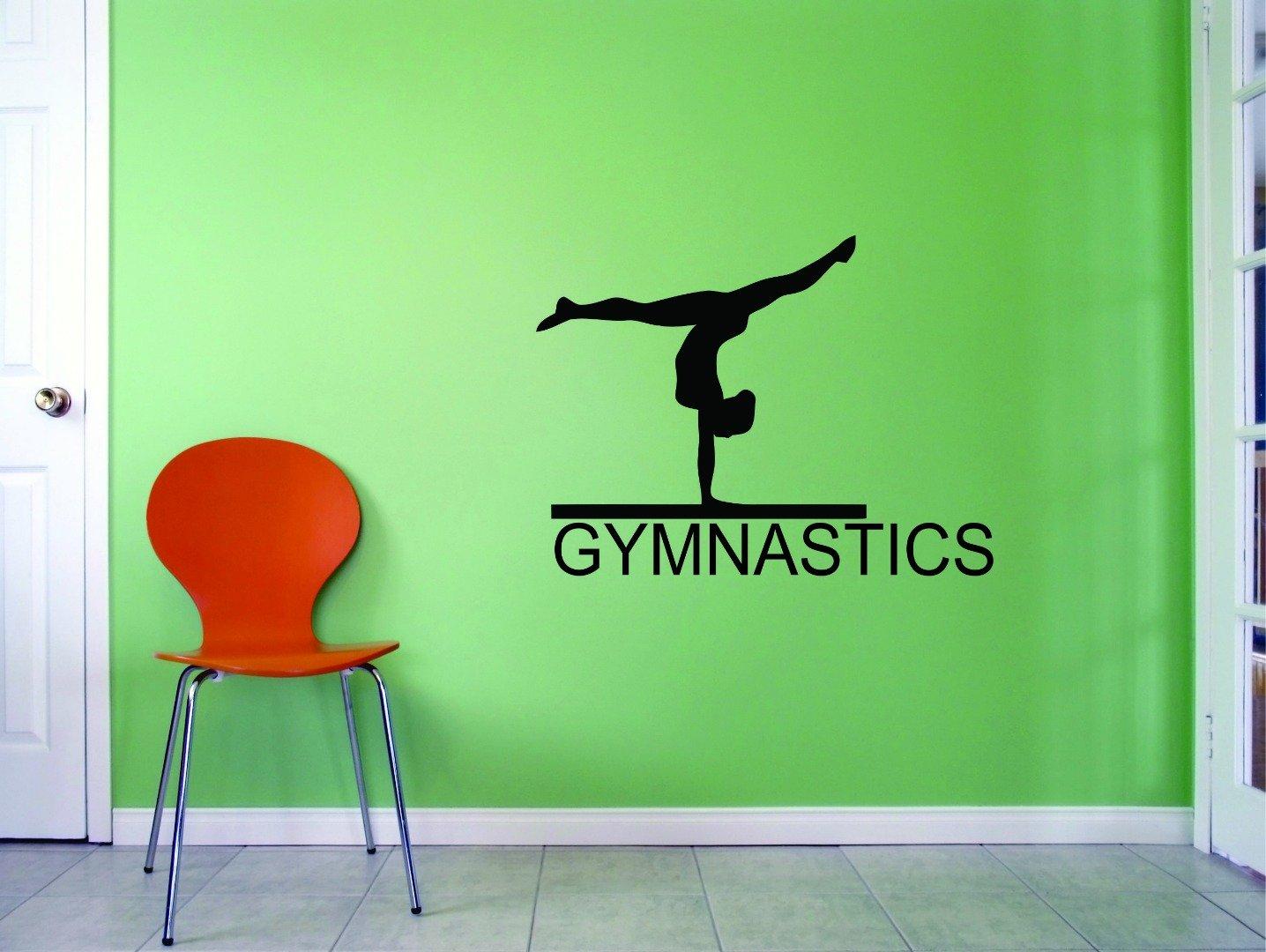 14 x 28 Black Design with Vinyl JER 355 2 Gymnastics Flipping Tumble Balance Beam Sports Girl Vinyl Wall Decal Sticker