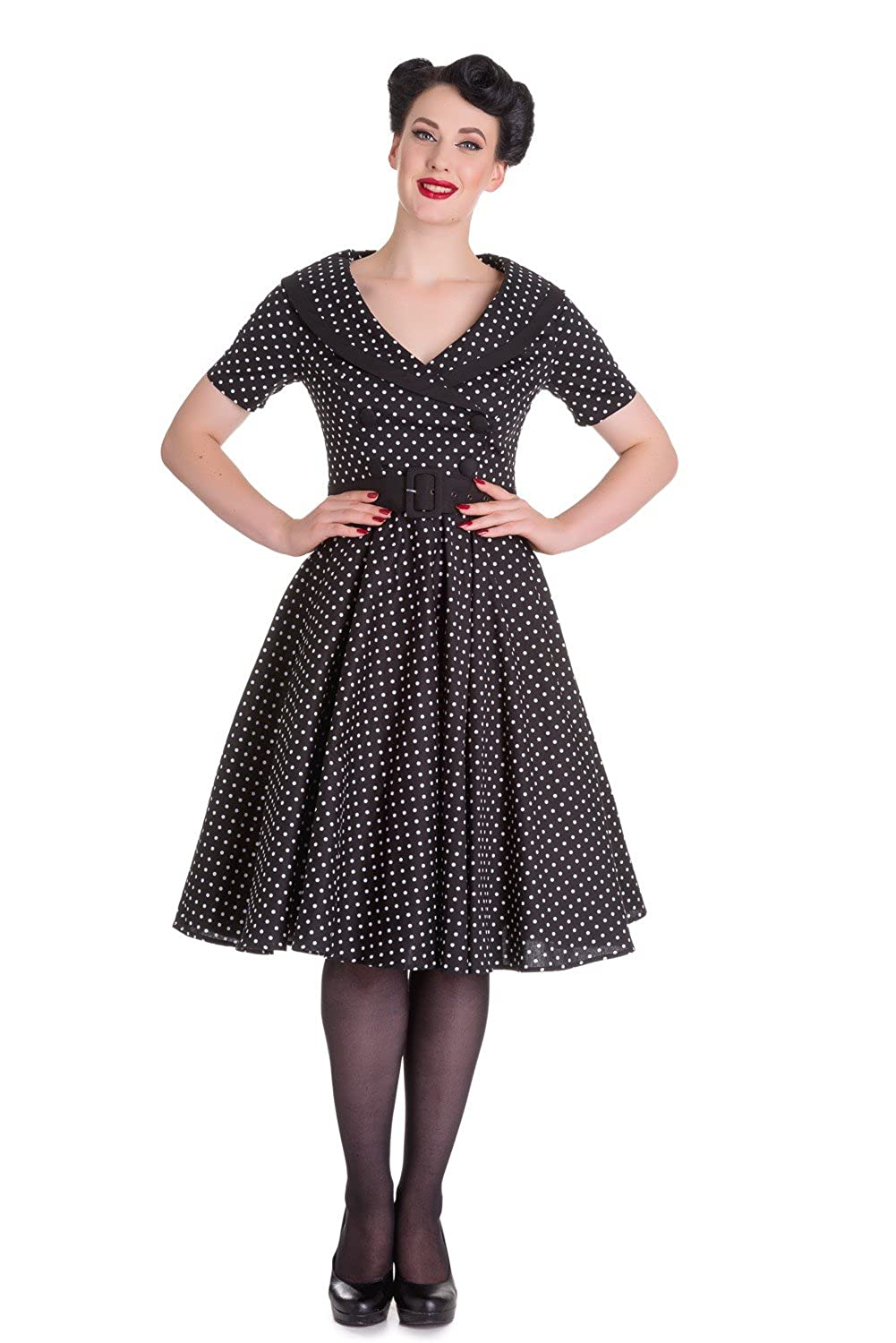 Hell Bunny Mimi 50s retro Pin Up Polka Dots Rockabilly Swing Dress Petticoat kurzarm Kleid