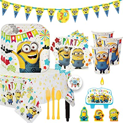 Despicable Me Minions Birthday Party Supplies and Decoration Pack For 16 With Plates, Cups, Napkins, Tablecover, Candles, Add An Age Banner, Cutlery, and Pin: Toys & Games