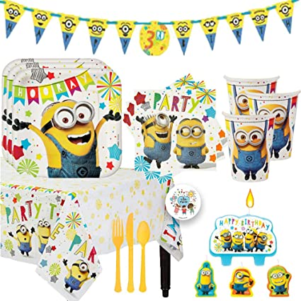 Despicable Me Minions Birthday Party Supplies and Decoration Pack For 16 With Plates, Cups, Napkins, Tablecover, Candles, Add An Age Banner, Cutlery, ...