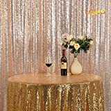 LQIAO Sequin Curtain 9X9FT-Champagne Gold Sequin Backdrop Wedding Photo Booth Door Window Curtain for Halloween Party Wedding Decoration