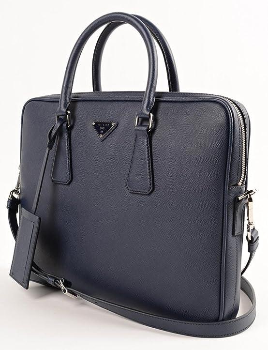Prada Men's Leather Briefcase Blue Saffiano