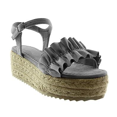 605b58ccf7ccdd Angkorly - Chaussure Mode Sandale Mule lanière Cheville Plateforme Femme à  Volants Corde tréssé Talon compensé