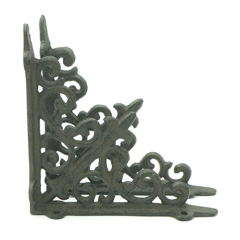 Lilie Lot de 2 supports muraux en fonte Marron vieilli 20 x 20 cm
