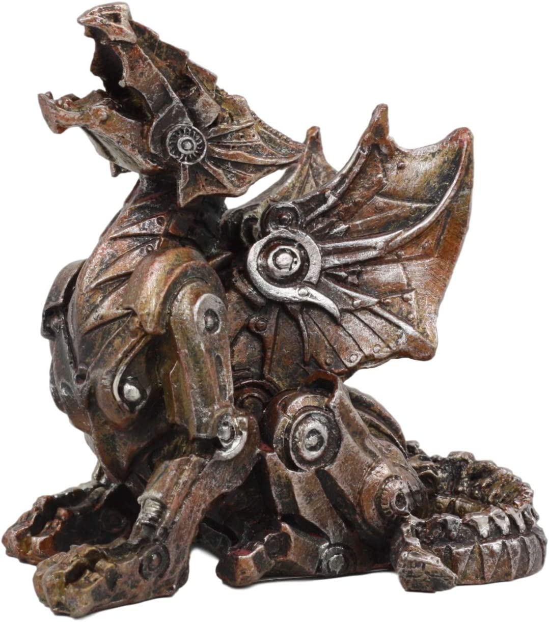 """Ebros Small Roaring Cyborg Steampunk Dragon Figurine 3.25""""High Victorian Sci Fi Decor Statue As Mythical Fantasy Collectible For Home And Office Desktop Shelf Paperweight Accessory"""