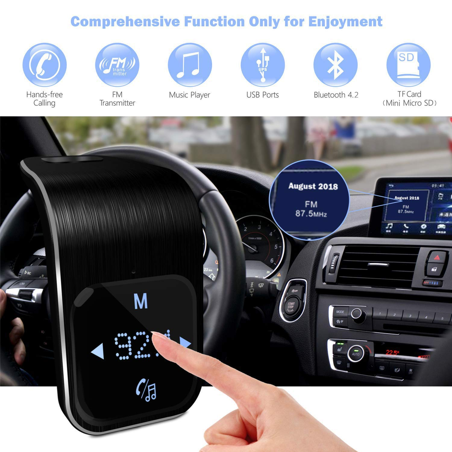 Bluetooth Fm Transmitter Wireless Radio Mini Circuit Adapter Car Kit Universal Charger With Dual Usb Port Music Player Support Tf Card