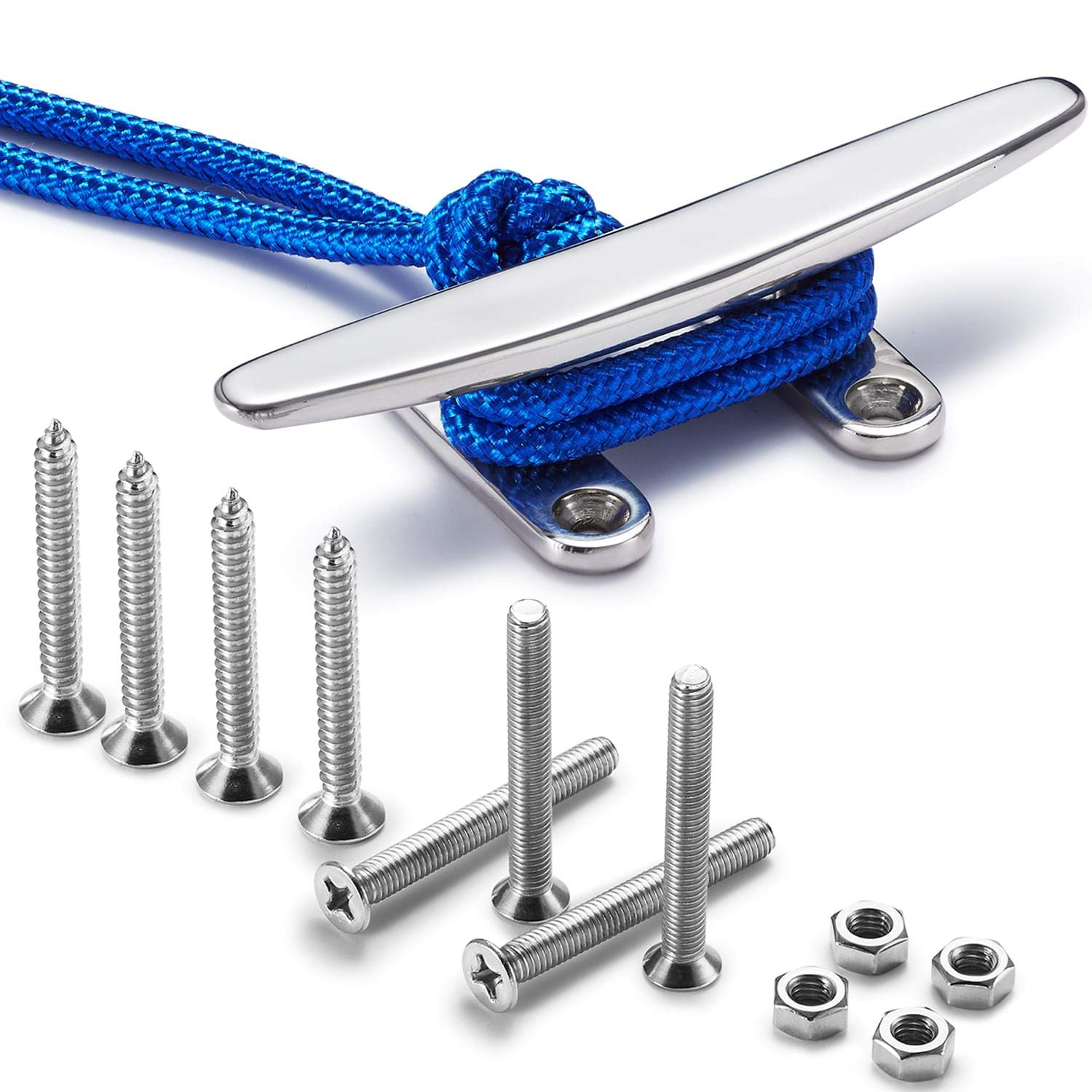 ZOMCHAIN 6'' Open Base Boat Cleat, 6 inch Dock Cleat All 316 Stainless Steel Boat Mooring Accessories, Free Installation Accessories Bolts, Nuts and Screws, 1PCS