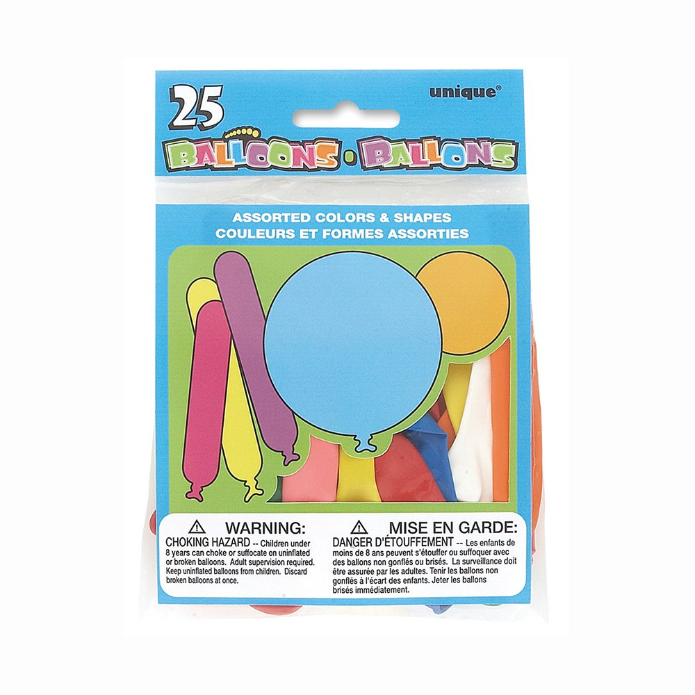 2a989f8e79ece Unique Party 5188 - Latex Assorted Colour and Shape Party Balloons ...