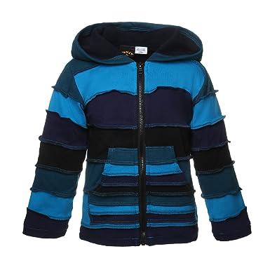 354c12f58cc6 Kunst und Magie Kinder Alternative Patchwork Jacke mit Zipfelkapuze Goa Psy  Wichtel, Blau Kindergrößen