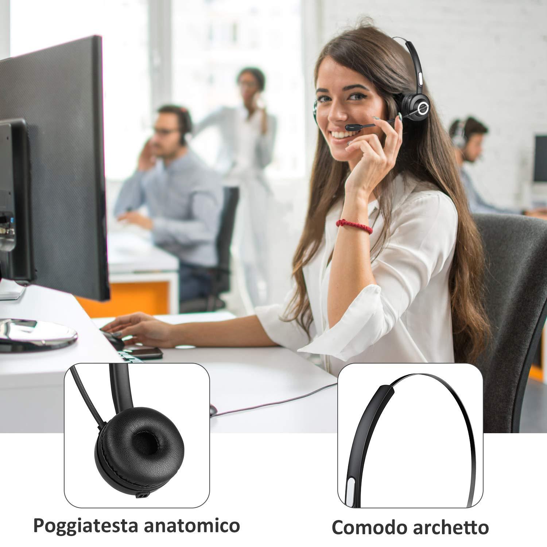 Auricular Inal/ámbrico Diadema con Base de Carga Zeonetak Auriculares Bluetooth 5.0 con Micr/ófono Cancelaci/ón de Ruido C/ómodo Silencio para Android iPhone iPad PC Oficina en el Hogar