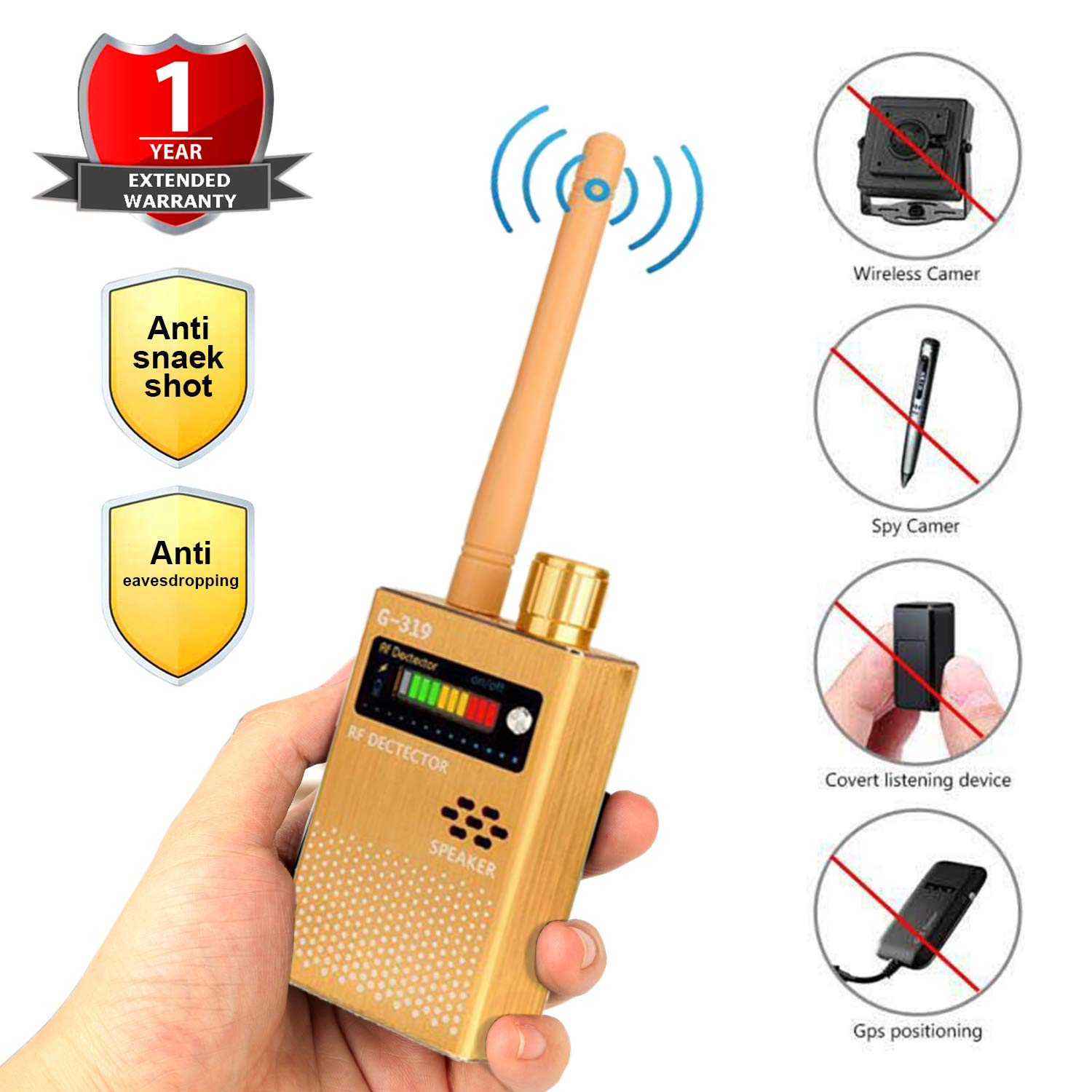 Eilimy Anti-Spy Wireless RF Signal Detector Set [2019 Latest Upgrade] Bug GPS Camera Signal Detector,for Hidden Camera GSM Listening Device GPS Radar Radio Scanner Wireless Signal Device Finder by Eilimy