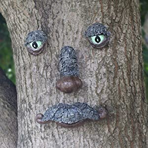 JHP Fun Old Man Tree Face, Whimsical Bearded Garden Peeker Decor with Glow Eyes in Dark, Hand Painted Tree Hugger Sculpture Greenman Tree Face Garden Decoration for Outdoor Yard Art and Home Décor