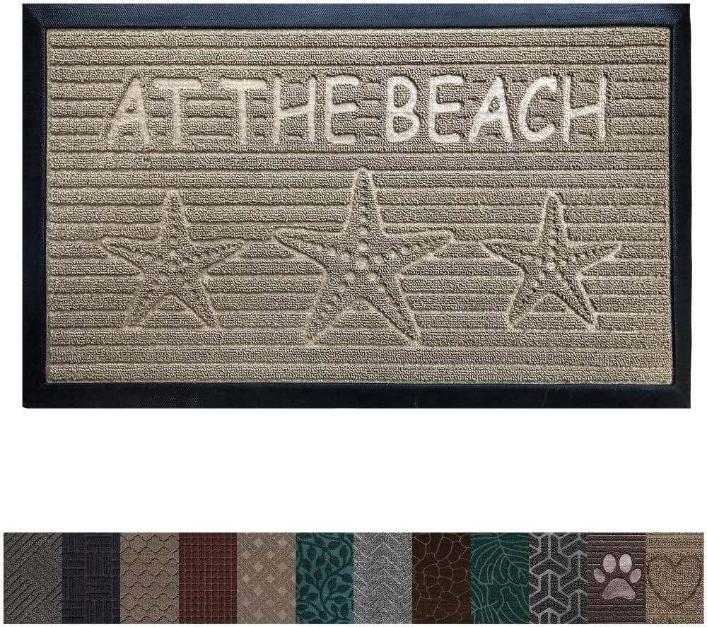 Gorilla Grip Original Durable Rubber Door Mat, 29 x 17, Heavy Duty Doormat, Indoor Outdoor, Waterproof, Easy Clean, Low-Profile Mats for Entry, Garage, Patio, High Traffic Areas, Beach Sand