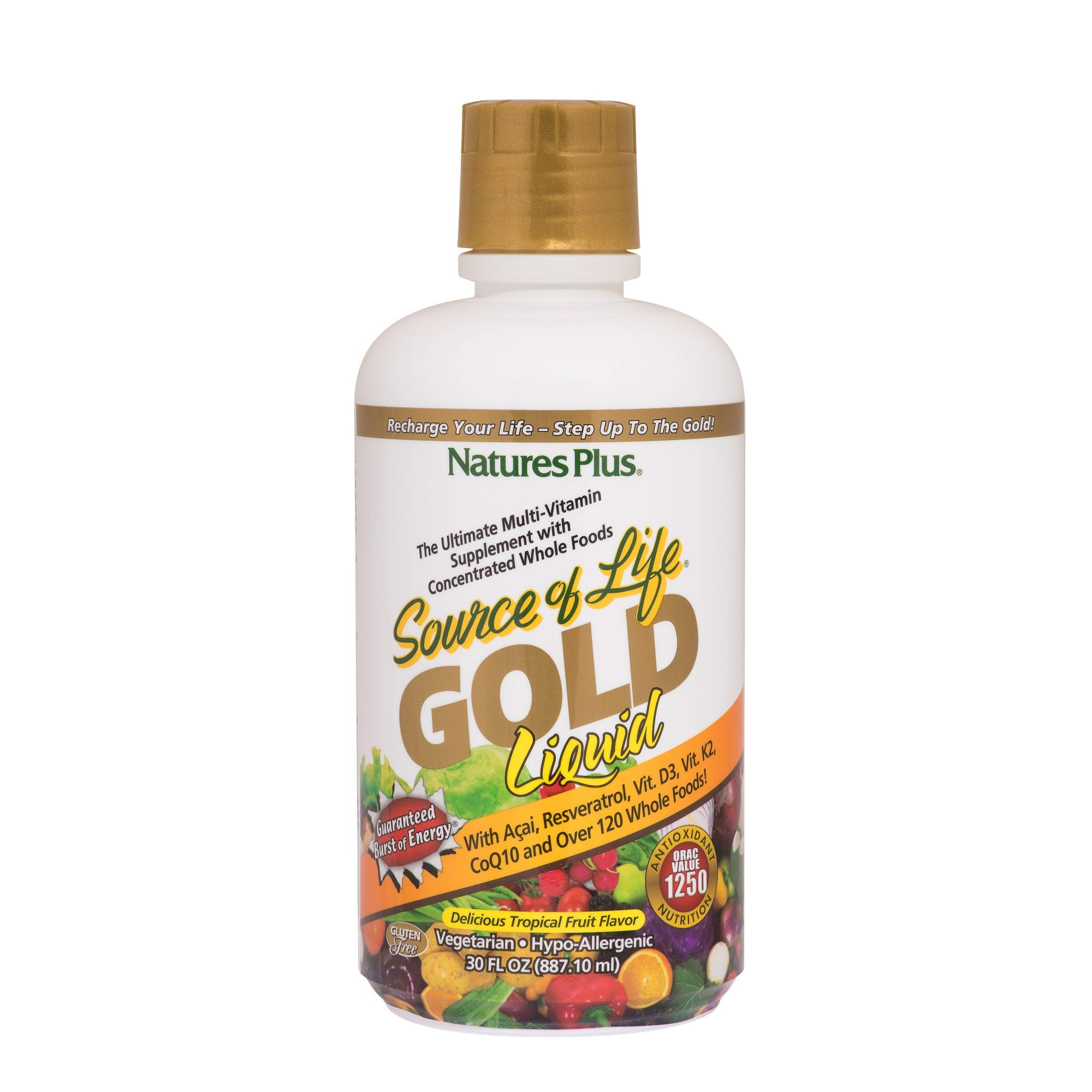 NaturesPlus Source of Life Gold Liquid - 30 fl oz - Tropical Fruit Flavor - Daily High Potency, Organic Whole Food Multivitamin, Prebiotic Complex - Vegetarian, Gluten-Free - 30 Servings by Nature's Plus