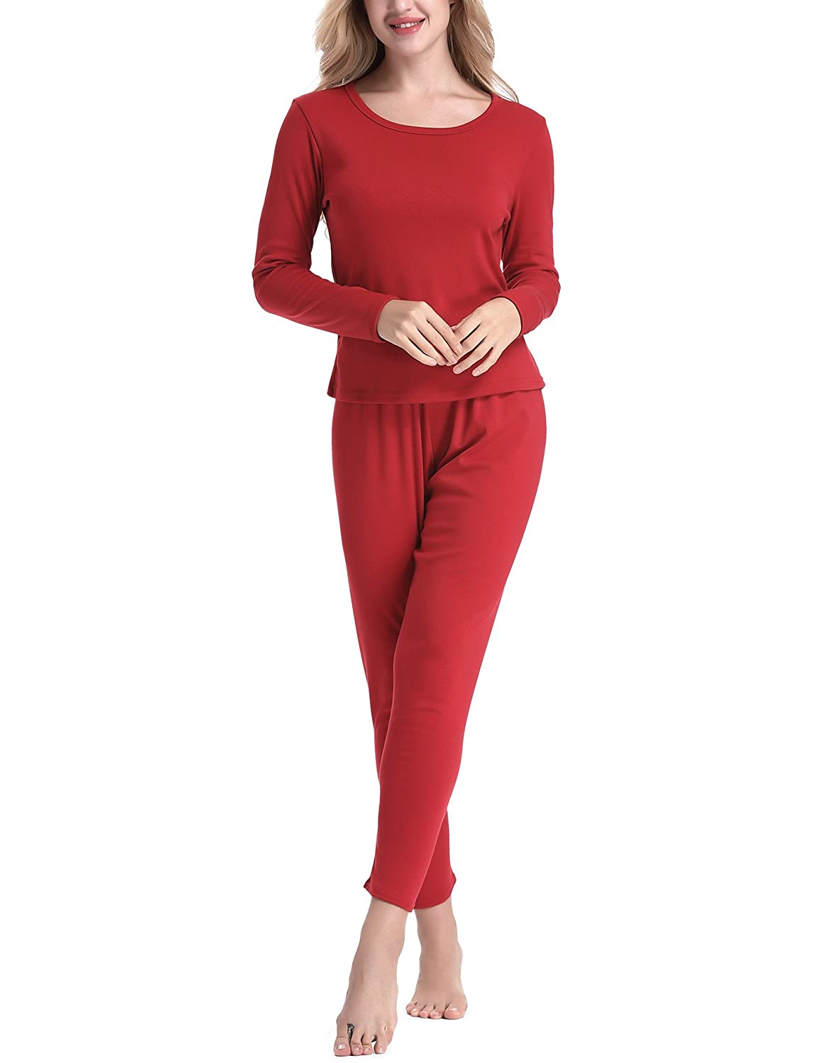 Yulee Women's Fleece Lined Thick Thermal Underwear Set Base Layering Top & Bottom