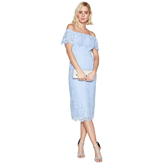 8bdcdae17ea Image Unavailable. Image not available for. Colour  Debut Womens Blue  Floral Lace  Briana  Bardot Midi Dress 12