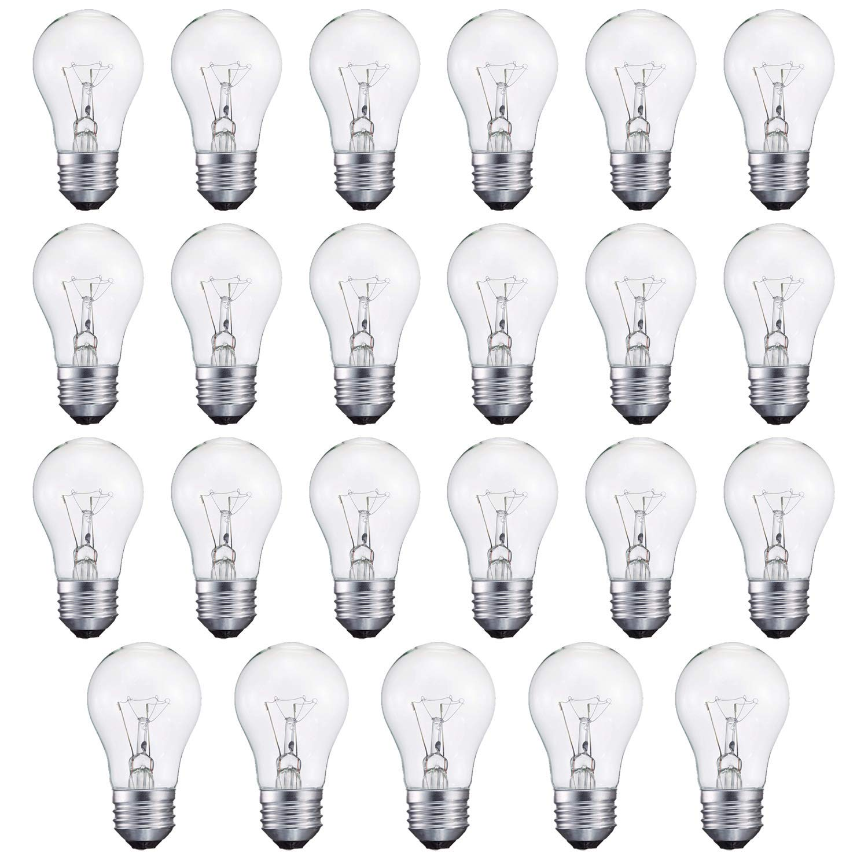40-Watt Appliance Bulb, Appliance Light Bulb 40w A15, 120v 40w Refrigerator Bulb Clear Ceiling Fan Bulbs Medium (E26) Standard Household Base Crystal Clear, 24Packs