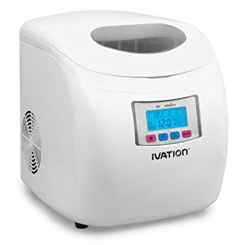 Ivation IVA ICEM25WH Portable Ice Maker With LCD Display, White