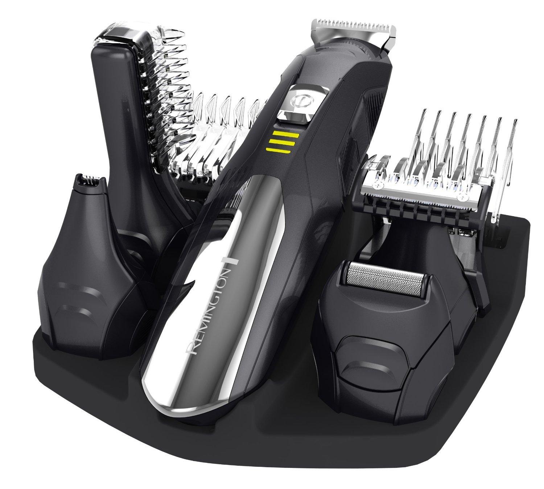 Remington Groomkit - Cortadora con múltiples cabezales, cuchillas autoafilables con revestimiento de titanio, 5 cabezales, carga USB PG6050