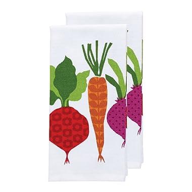 T-fal Textiles Double Sided Print Woven Cotton Kitchen Dish Towel Set, 2-pack, 16  x 26 , Veggie Print