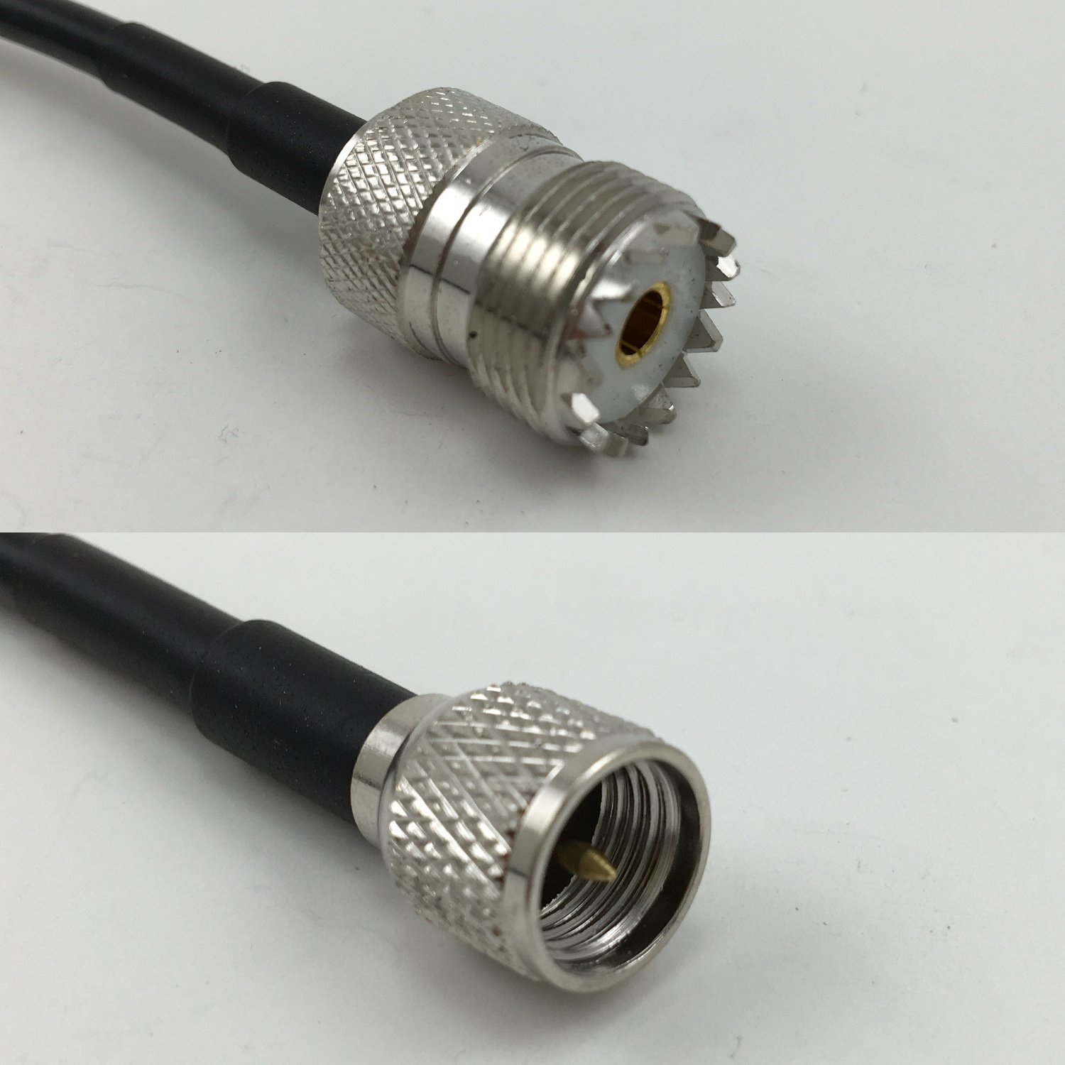 RG58 PL259 UHF MALE to SO239 FEMALE BULKHEAD Coaxial RF Pigtail Cable USA