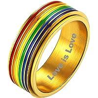 Bandmax Roestvrij staal Rainbow Pride Ringen Voor Vrouwen Mannen Spinner Ringen Angst Fidget Ring Gay Parade LGBT Ring…