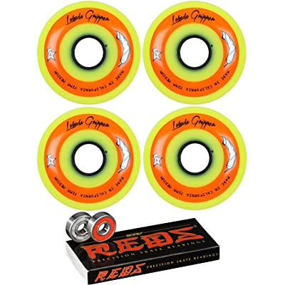 Labeda Gripper Inline Roller Hockey Wheels Yellow Medium (4 Pack) with Bones Reds Bearings (72mm) : Sports & Outdoors