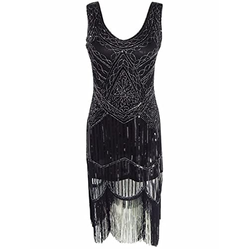 OOFIT 1920s Flapper Dress, Womens Beaded Sequin Art Deco Gatsby Dresses