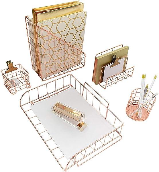 4 Piece Desktop Acce Blu Monaco Gold Desk Organizers And Accessories For Women