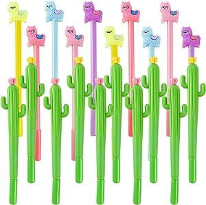 20Pieces Cartoon Llama Cactus Pen Cute Alpaca Cactus Gel Pen Ballpoint Pen for School Office Supplies Kids Gifts, Black Ink, 0.5mm Ball Point