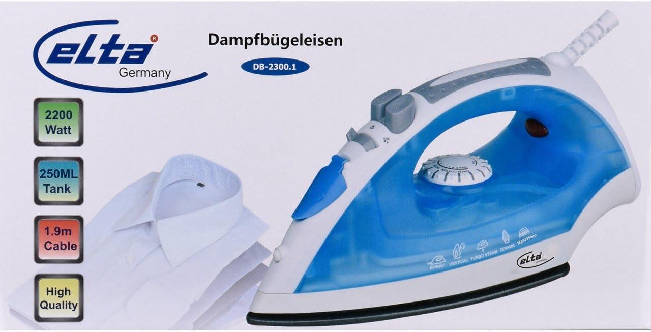 Elta DB-2300.1 - Plancha de vapor (250 ml, depósito de agua, 2200 W, cable de 1,9 m, función de spray, incluye vaso medidor): Amazon.es: Hogar