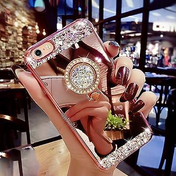 Cover iPhone 8,Cover iPhone 7, Lucido Cristallo Scintillio Strass Diamante Glitter Placcatura Specchio Custodia Gel Clear Morbida Silicone TPU Custodia Cover,Oro Rosa Supporto ad Anello