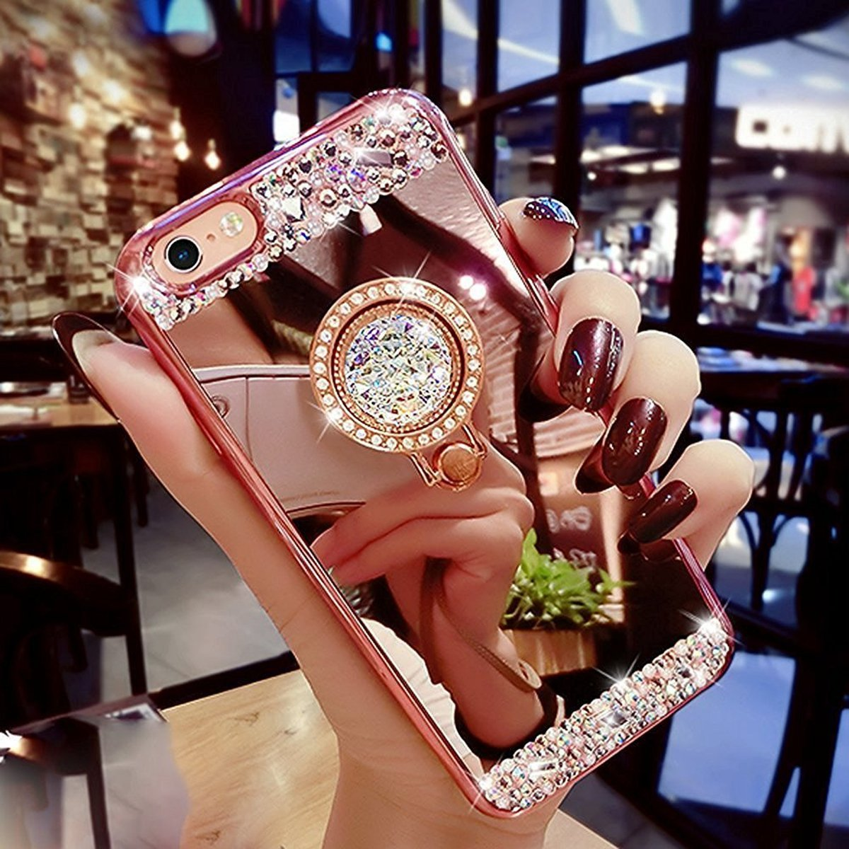 iPhone 6S Plus caso, ikasus lujo Crystal Rhinestone Bling Diamante Brillante Espejo de maquillaje con espejo Anillo soporte TPU de goma carcasa Skins para iPhone 6 Plus/6S Plus 5.5 , compatible con Aple iPhone 6 Plus