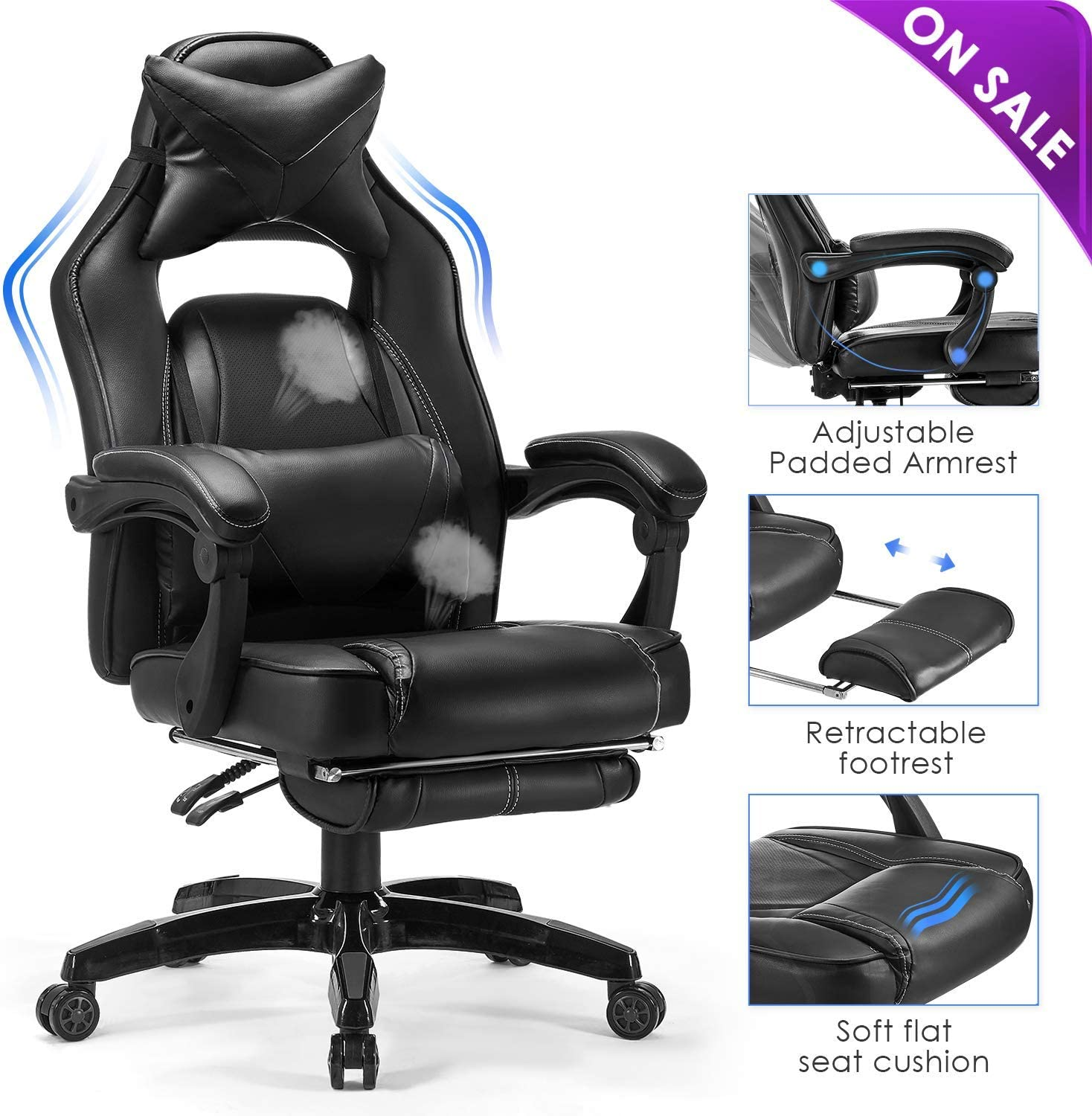 Kealive Gaming Chair Reclining Racing Chair, Ergonomic Office Chair with Breathable PU Leather and High Back, Adjustable Swivel Computer Chair with Headrest and Lumbar Support Footrest