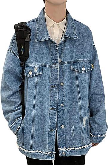 [ShuMing]メンズ デニムジャケット ダメージ 長袖 ジャケット カジュアル ゆったり ジージャン デニム アウター ファッション ストリート系 秋 大きいサイズ
