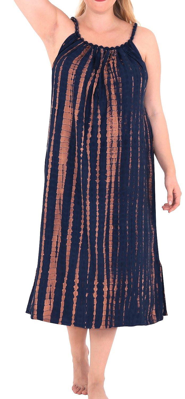 LA LEELA Rayon Tie Dye Beachwear Femminile di Coprire l'Alto Lo Swimwear del Bikini Abito Caftano Casuale 901653