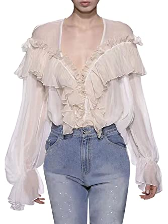 92e24233c531 Missy Chilli Damen Weiß Bluse Elegant Langarm V-Ausschnitt Rüschen Chiffon  Bluse Blouse Oberteil mit