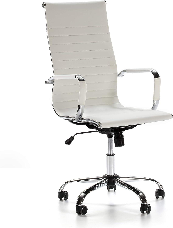 VS Venta-stock Sillón de Oficina Londres reclinable Blanco, Piel sintética, Silla ejecutiva con reposacabezas y conjín engrosados, Altura Ajustable, Diseño ergonómico