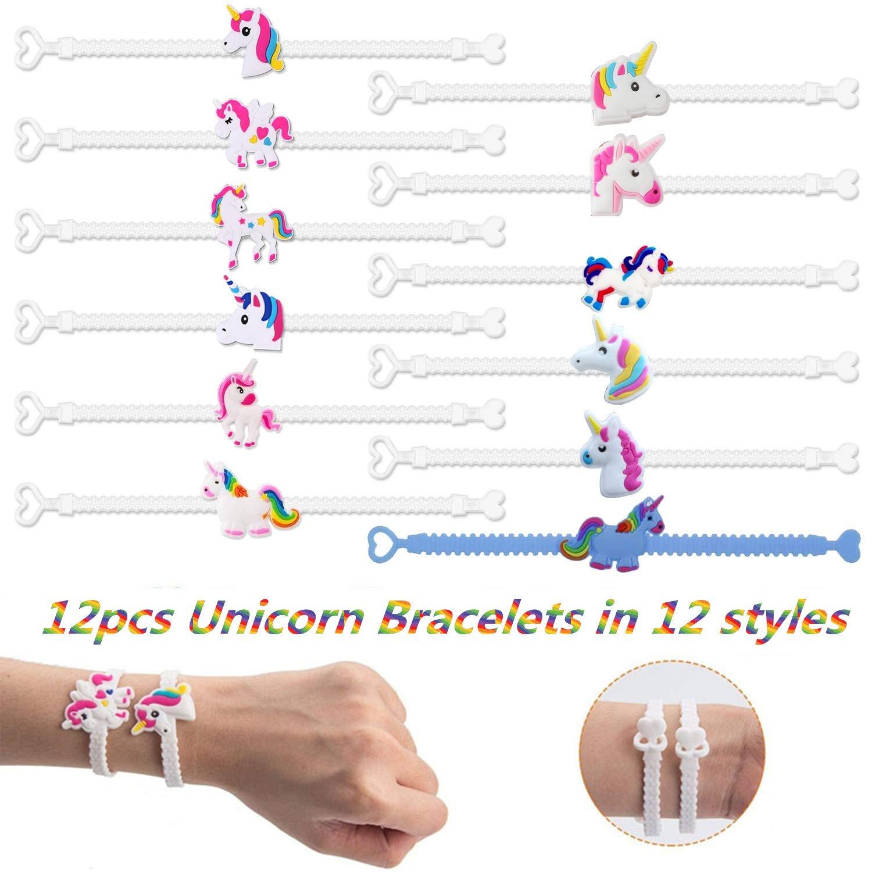 12 Porte-cl/és Licorne 12 Bracelets Licorne 12 bagues Licorne 20pcs Tatouages temp/ér/és pour des Gamins Sac Remplisseur Anniversaire Pachock 56pcs Pinata Licorne Sacs de F/ête Enfant