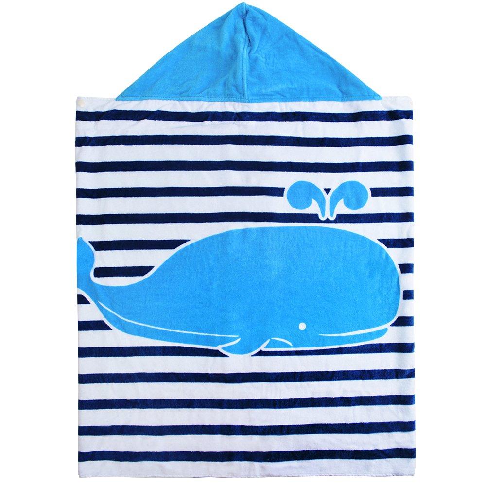 Cotton 400 GSM Hooded Poncho Towel for Kids Dolphin Cute Cartoon Beach Pool Bath Towel for Boys 127cm*76cm