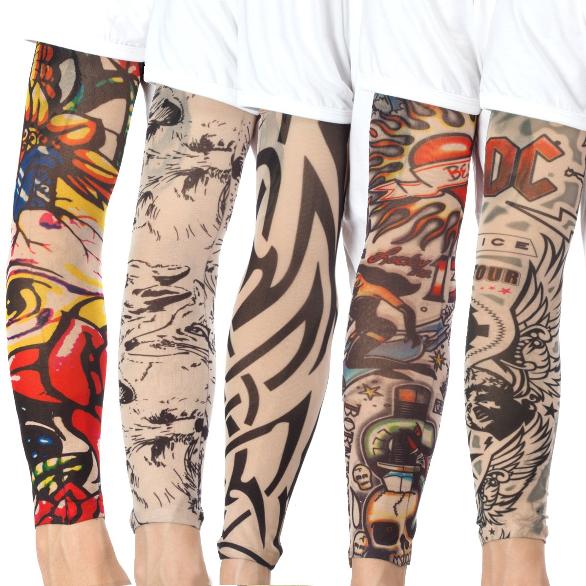 20PCS Set Arts Fake Temporary Tattoo Arm Sunscreen Sleeves - AKStore - Designs Tiger, Crown Heart, Skull, Tribal and Etc by Akstore (Image #3)