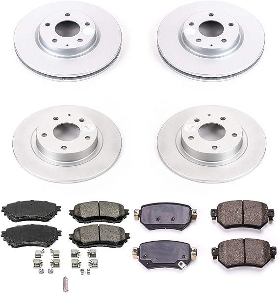 Power Stop CRK8333 CRK8364 Z23 EvolutionFront and Rear Kit-Coated Rotors and Carbon-Fiber Ceramic Brake Pads