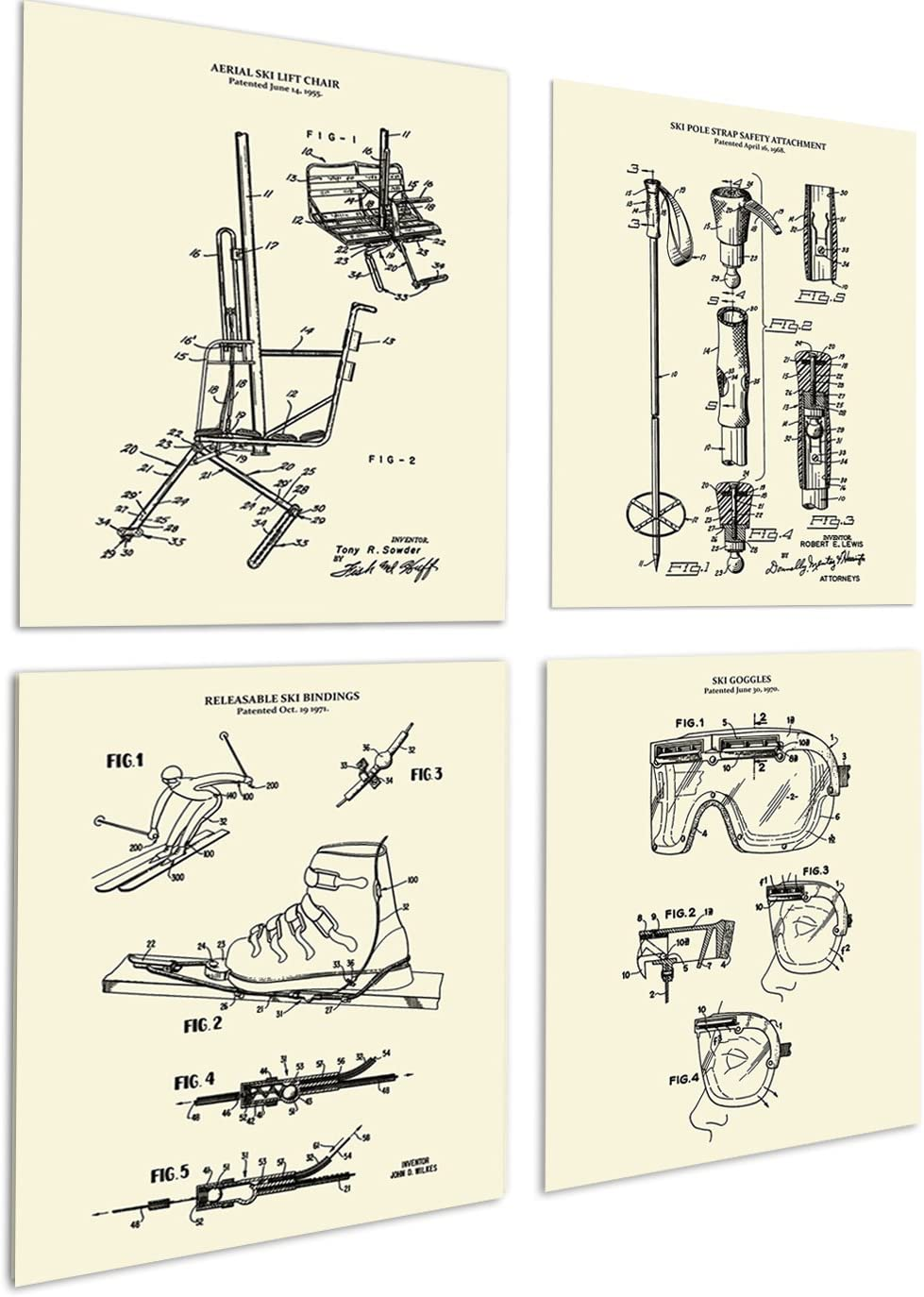 Ski Decor for Home Set of 4 Unframed Ski Wall Art Prints in Cream Color Patents_Ski_Crm4A