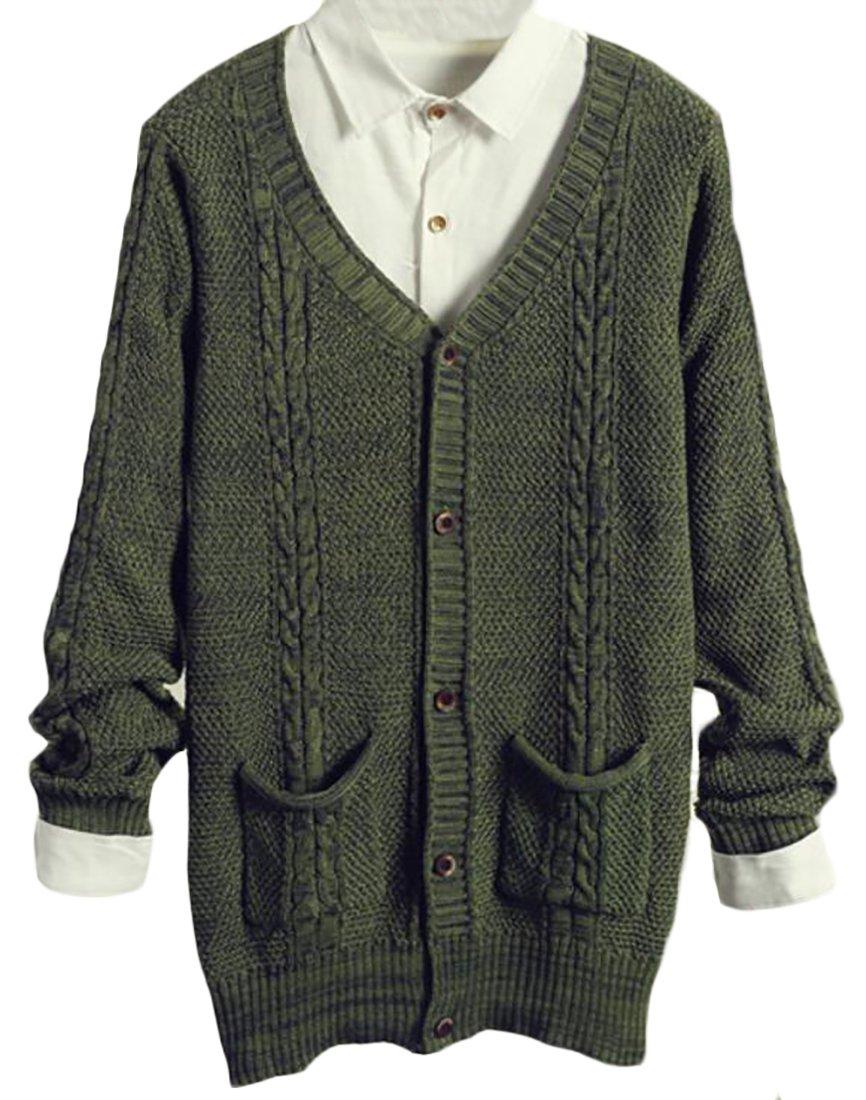 Generic Mens Fashion V-Neck Button Fine Knit Cardigan Green L