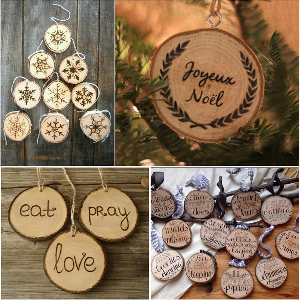 VOSAREA 50 discos redondos de madera con agujero para decoraci/ón r/ústica para bodas calendario cuenta atr/ás y scrapbooking 3 cm