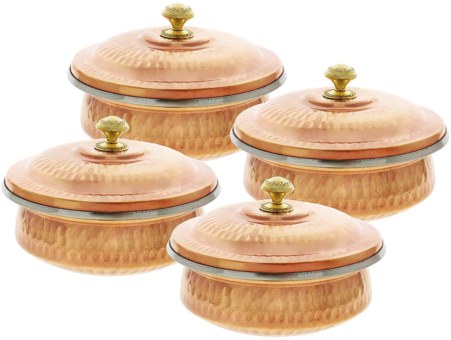 PARIJAT HANDICRAFT Copper Stainless Steel Soup, Cereal, Salad, Vegetable Serving Bowls Tureen - Set of 4 Capacity 14 Ounce Approx