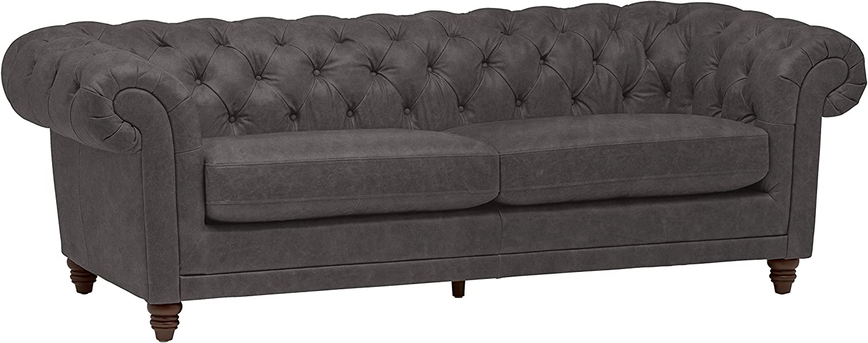 "Amazon Brand – Stone & Beam Bradbury Chesterfield Tufted Leather Sofa Couch, 92.9""W, Black"