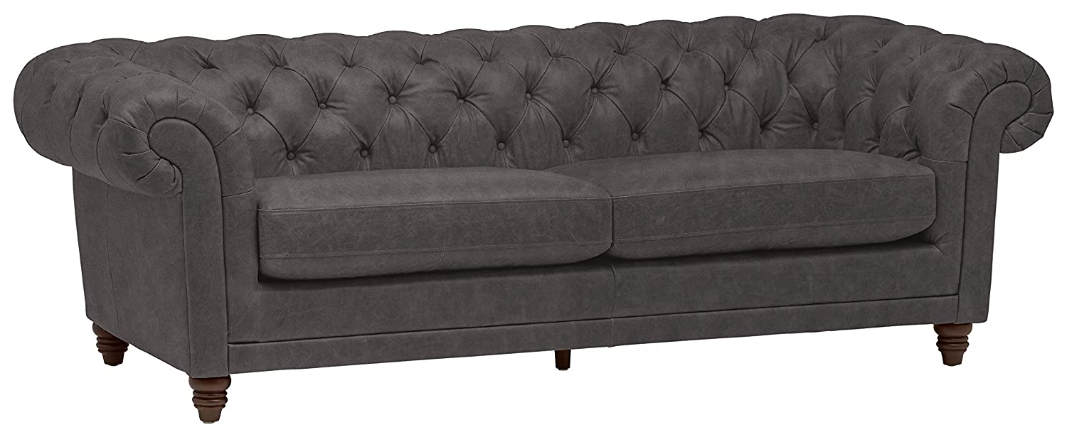 Stone & Beam Bradbury Chesterfield Tufted Leather Sofa Couch, 92.9\
